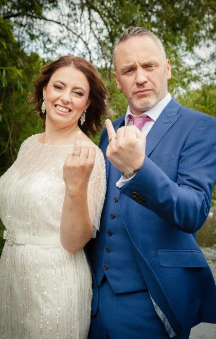 wedding giving the finger