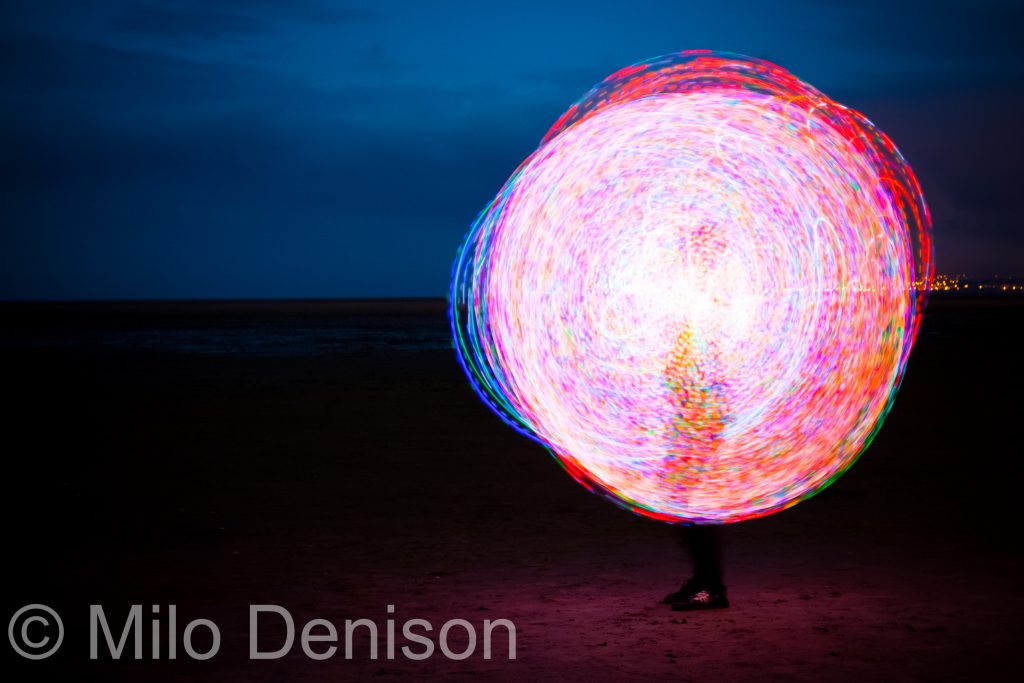 Night Photography at The Beach with Lights